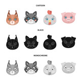 Protein, raccoon, chicken, pig. Animal's muzzle set collection icons in cartoon,black,monochrome style vector symbol stock illustration web. - 221600870