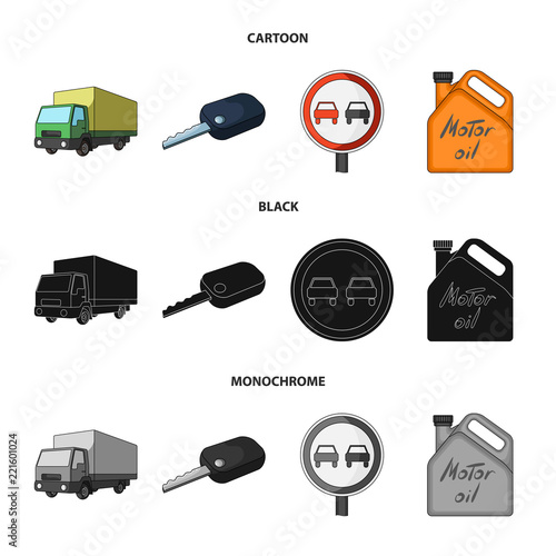 Truck With Awning Ignition Key Prohibitory Sign Engine Oil In