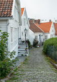 Stavanger Old Town with beautiful white wooden houses. - 221602859