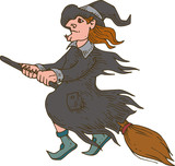 Witch Flying on the Broom. Halloween Illustration - 221615274