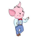 Cute little pig. Cartoon vector character