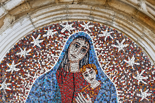 Maria and Jesus Kid Mosaic exterior at Ceccano Italy church - 221620230