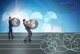 Currency concept with businessman on running path - 221633253