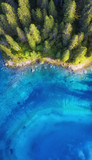 Aerial view on the lake and forest. Natural landscape from drone. Aerial landscape from air in the Dolomite alps, Italy.