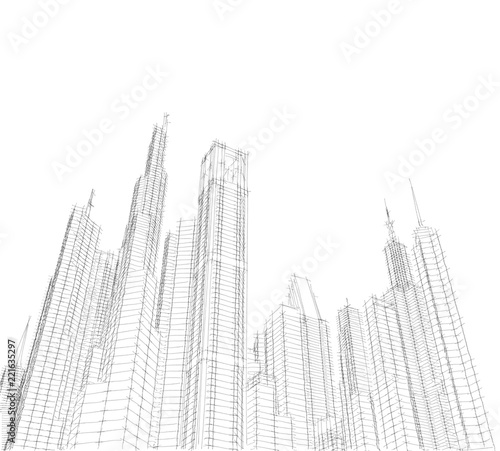 city buildigs sketch 3d illustration - 221635297