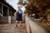 Enjoying on his grandparents farm.Little boy is having fun in a wooden trailer. - 221636813