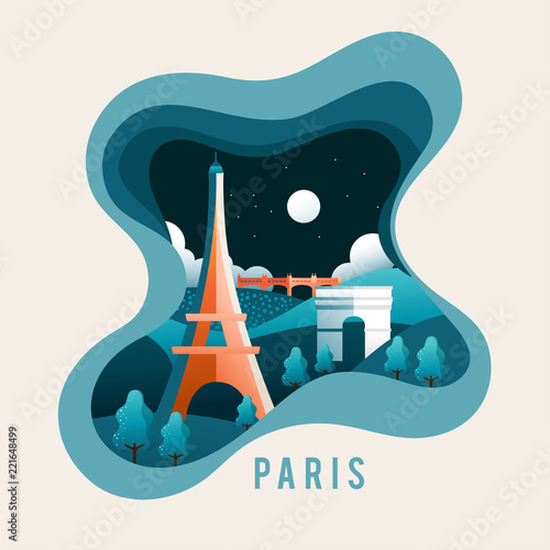 City Scene in Paper Cut Style : Paris : Vector Illustration - 221648499