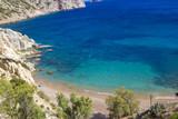 Beautiful scene in Vrolidia beach, Chios Island Greece - 221650460