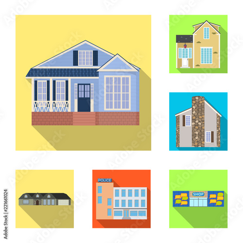 Vector design of building and front logo. Collection of building and roof stock vector illustration. © Svitlana