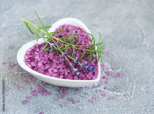 Fototapeta Heart-shaped bowl with sea salt and fresh lavender flowers