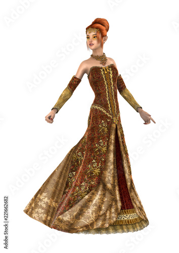 3D Rendering Princess of Autumn on White - 221662682