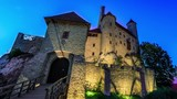 Mediaeval castle by Night (time lapse) - 221678848