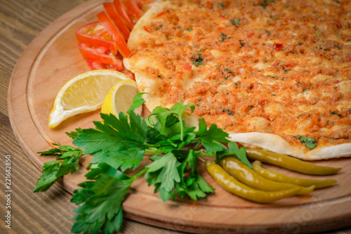 Traditional turkish lahmacun pide