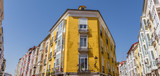 Panorama of colorful houses with traditional Bay windows in Burgos, Spain - 221686273