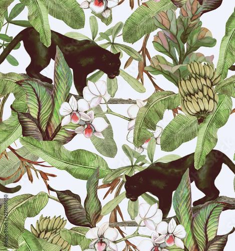 Tropikalne liście, banany, pantera i orchidea. Bezszwowe tło wzór. Tapety z tropikalnymi kwiatami i liśćmi