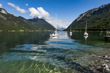 The beautiful Lake Achen. The highest lake in the Austrian Tyrol and lies north of Jenback. Has a maximum depth of 133m and rarely does the temperature rise above 20C, but ideal for windsurfing. - 221697080