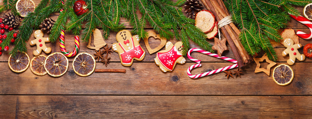 Christmas decoration on rustic wooden background