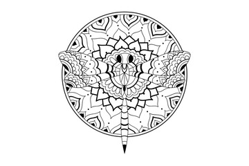 Mandala hand drawn indian pattern dragonfly coloring book page vector