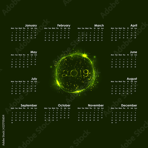 2019 calendar templatestarts mondayyearly calendar vector design stationery templatehappy new