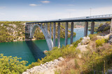 Highway bridge over the Adriatic Sea in Croatia - 221712440