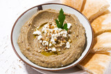 mediterranean appetizer - hummus and pita bread - 221712896