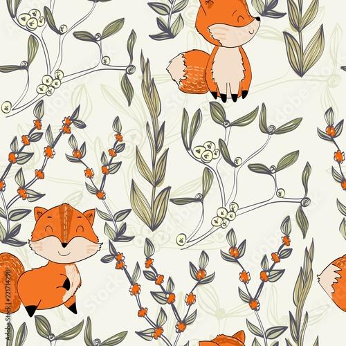 Fototapeta Vector hand drawn seamless pattern. Cute cartoon fox.
