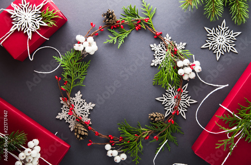 Christmas and New Year holiday background. Xmas greeting card. Flat lay