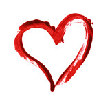 Closup of red heart painted with a brush - 221722411