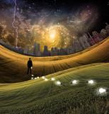 Symbolic landscape with man - 221722602