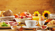 Leinwandbild Motiv Autumn breakfast with assorted fresh food