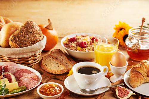 Leinwandbild Motiv Wholesome spread of fresh food for breakfast