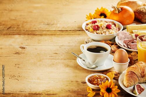 Leinwandbild Motiv Seasonal autumn Intercontinental breakfast border