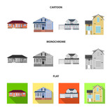 Isolated object of building and front icon. Collection of building and roof stock symbol for web. - 221730684