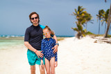 Father and daughter at beach - 221741090