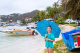 Little girl with umbrella - 221741415