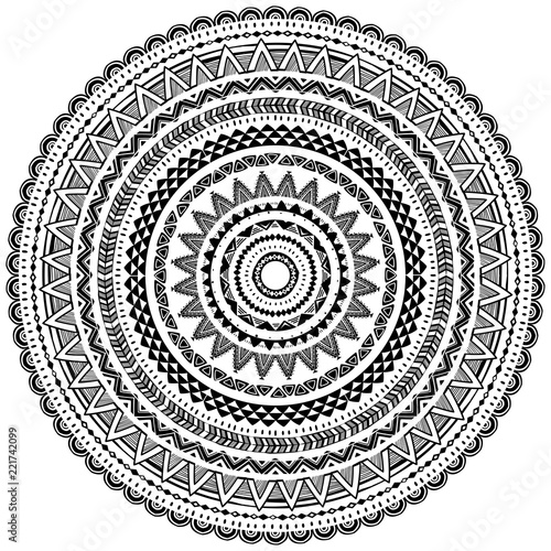 Round Ornament Pattern in Tribal ethnic style