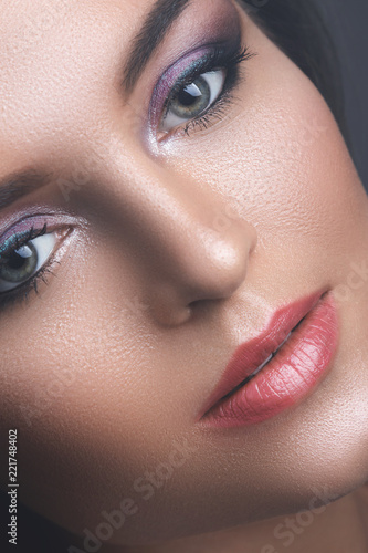 Female face with beautiful eye shadows - 221748402
