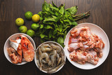Different sources of protein - Fish, Prawns and Chicken - 221748665