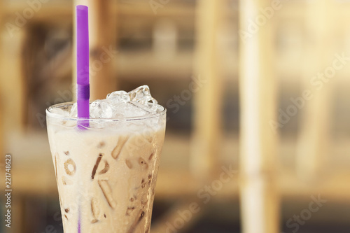 Glass of cold iced coffee - 221748623