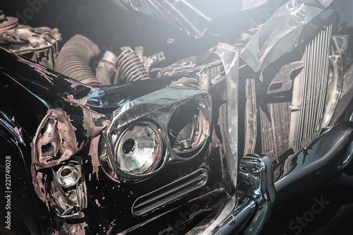 Retro automobile after car crash - 221749028