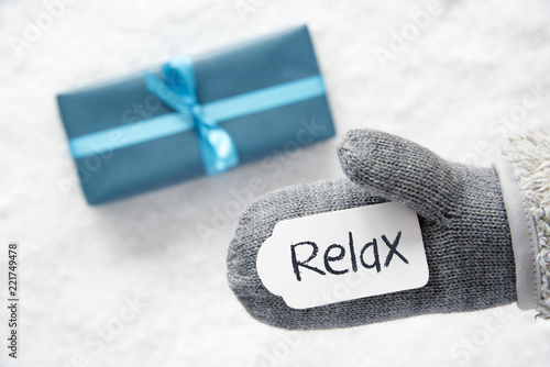 Turquoise Gift, Glove, English Text Relax, Snow - 221749478