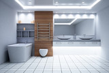New wooden bathroom interior - 221751282