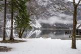 Beautiful winter scene at lake Bohinj - 221758251