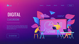 Students with laptop and lector in front of interactive board. Digital classroom landing page. Blended learning and smart classroom, modern education. Vector illustration on ultraviolet background - 221762404