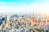 panoramic modern city skyline aerial view under blue sky in Tokyo, Japan