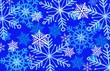 Leinwandbild Motiv beautiful SNOWFLAKE multilayered background in blues
