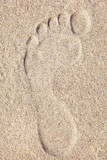 Footprint in sand at the Beach - 221778859