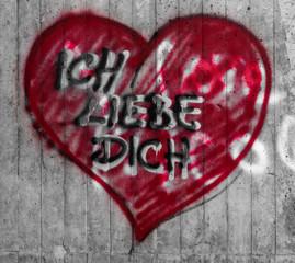 Ich liebe Dich Herz-Graffito
