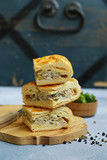 meat pie with chicken and mushrooms for lunch - 221781250