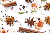 background of various spices on a white background - 221782491